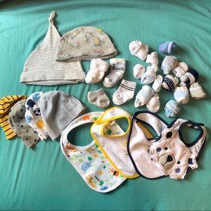 Newborn Boy Essentials Bundle Hats Socks Bibs